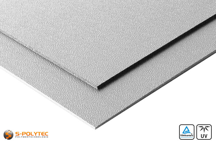 ASA/ABS sheets grey grained (RAL 7040) cut to size UV-resistant - detailed view